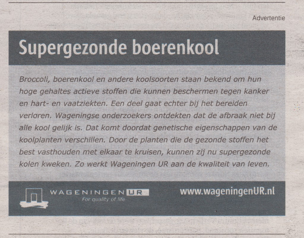 Advertentie van Wageningen Univerity & Research over kolen